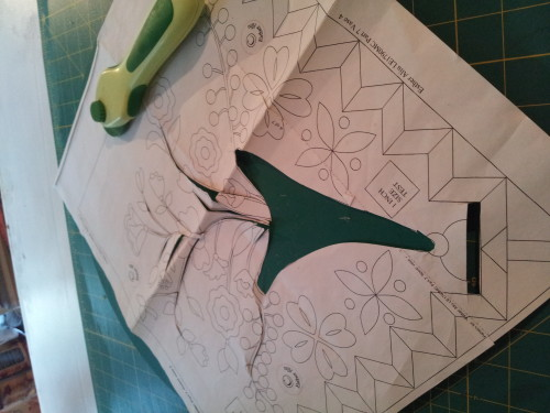 Cutting the flower stems so I can draw them on to my backing fabric.