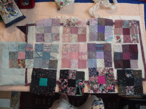 These are the little 9 patch blocks all different sizes and wonky as seams are from 16th to 1/2 an inch.