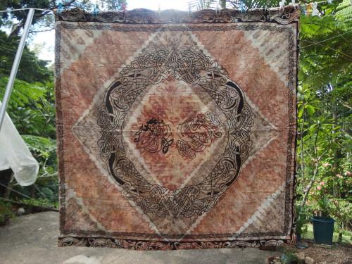 Batik whole cloth back of PNG Friendship group quilt. 1990's