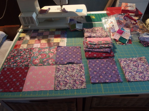 some squares I unpicked from a 1/2 made quilt I found in an Opp Shop.  Im going to cut them up in to 2inch sqaures to use as my headers and enders which may be one day will make a postage stamp quilt?