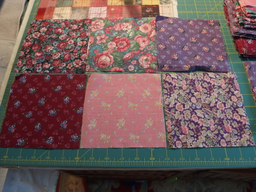 these are 6inch blocks but every fabric is a different weight, the pink is so fine you can see through it, I have had them in the draw for years now so finally they will be used.