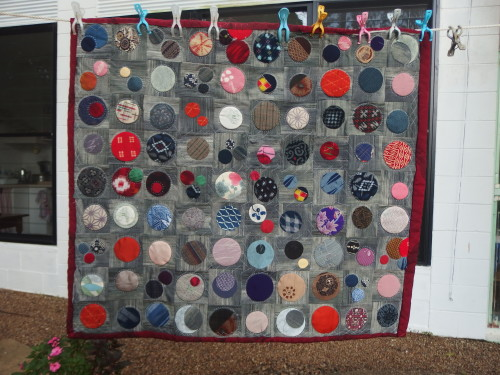 My 365 circles, I have sashiko quilted around all the circles around the edges and now just have the centre circles to quilt around. to do