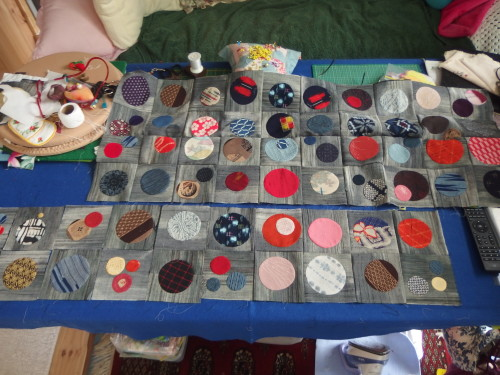 My next 90 circles are made up ready to be sewn t