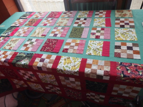 Working on my ANZ quilt 3 more rows to add , decided to hang it on my design wall to see ho