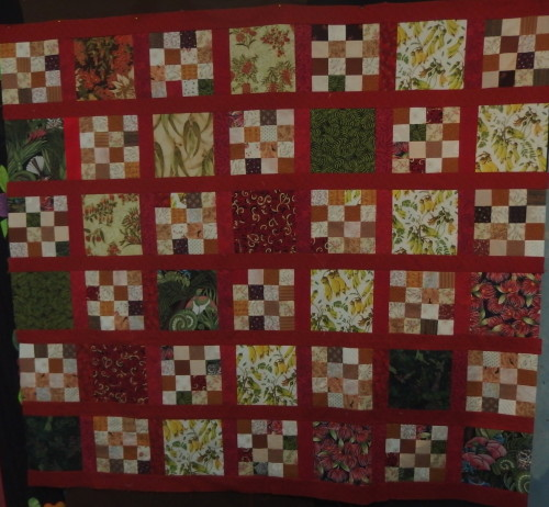 6 rows sewn together 3 more to go.