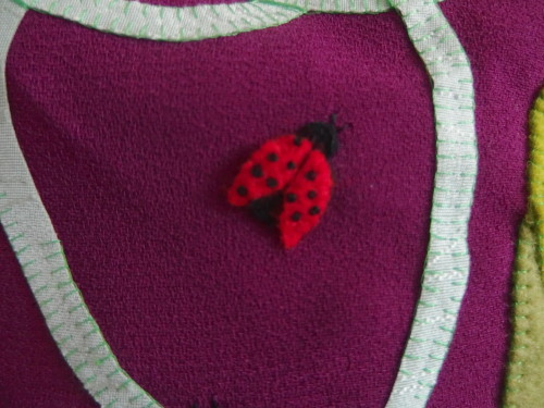 Close up of the Ladybug, I did french Knots for the wee black circles.
