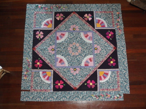 I usually work from the floor when adding the borders when mmy quilt is to big for our tab