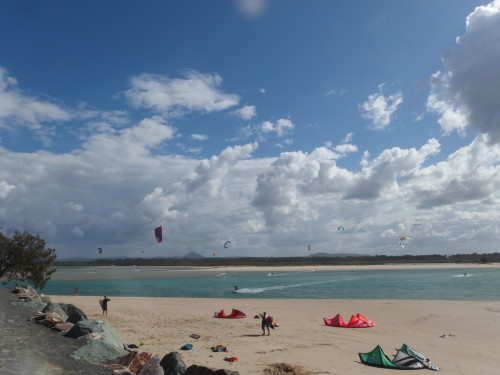 At Noosa river mouth were many of  the kite surfers hang out