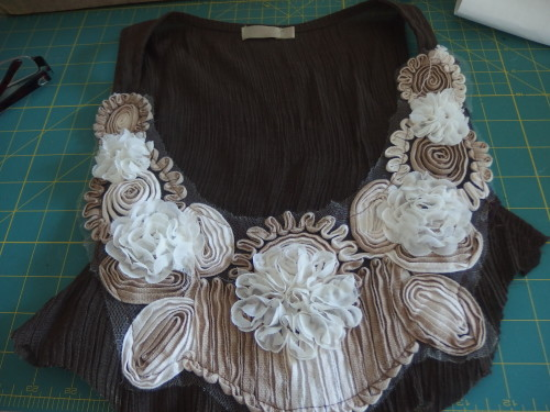 Where it all started the top that was badly stained but the lace was OK just needed a wee trim to tidy it up.
