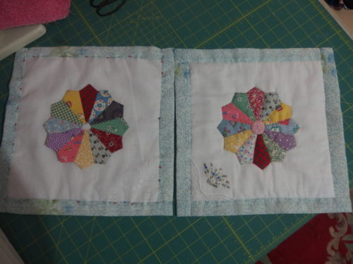 One wee QAYG block finished and the 2nd on pinned ready to be quilted and appliqued.