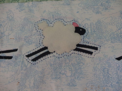 Have finished Sashiko quilting the centre on the 15th Jan now working on the sheep.