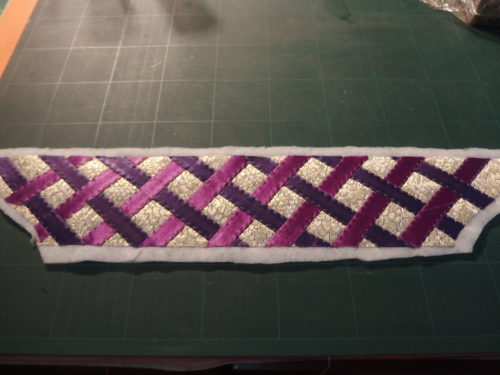 All strips quilted down now to trim back the batting.