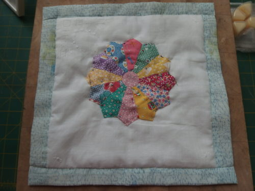 Today working on a wee hankie QAYG block, I ahve 4 more to make.