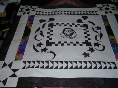 Start of a challenge of a only black and white quilt top.